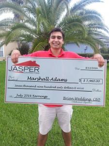 Marshall Adams July Earnings: $7,960.00